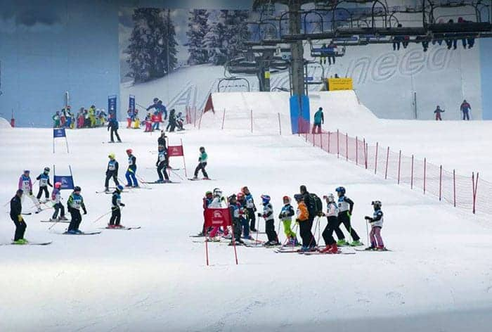 Kids skiing in Dubai