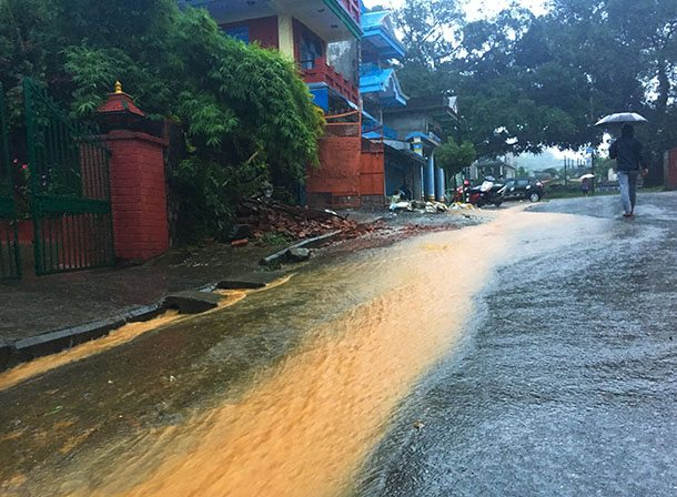 Flooded road in Pokhara