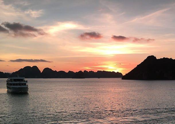Sunset over Halong Bay Vietnam