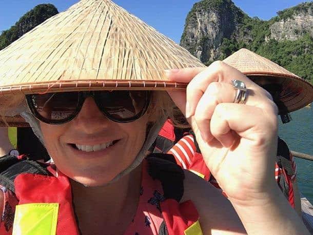 Megan on a Halong Bay cruise