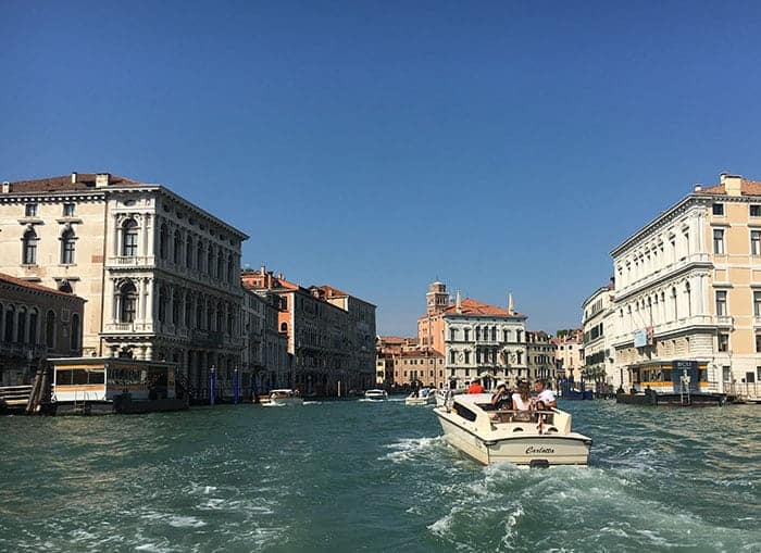 water taxi on grand canal venice