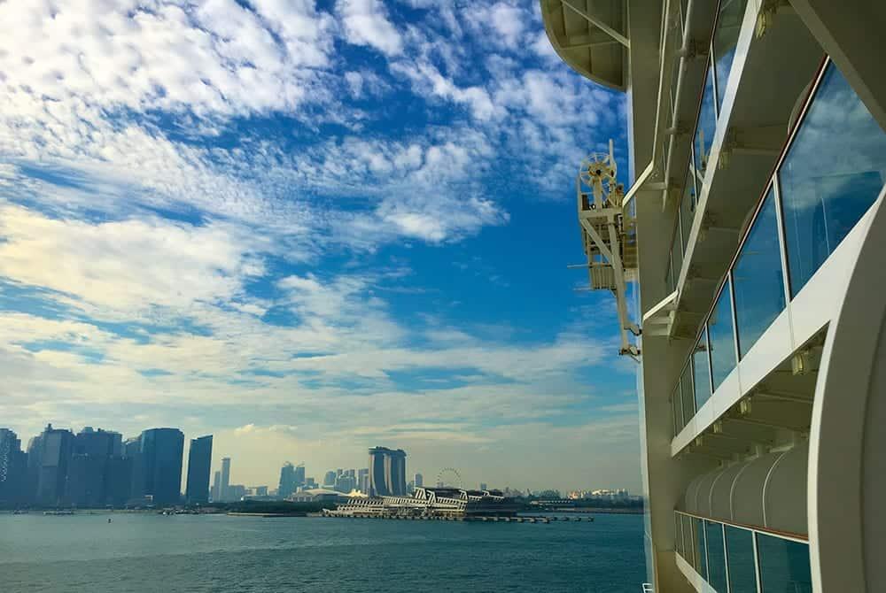 Cruise ship leaving Singapore