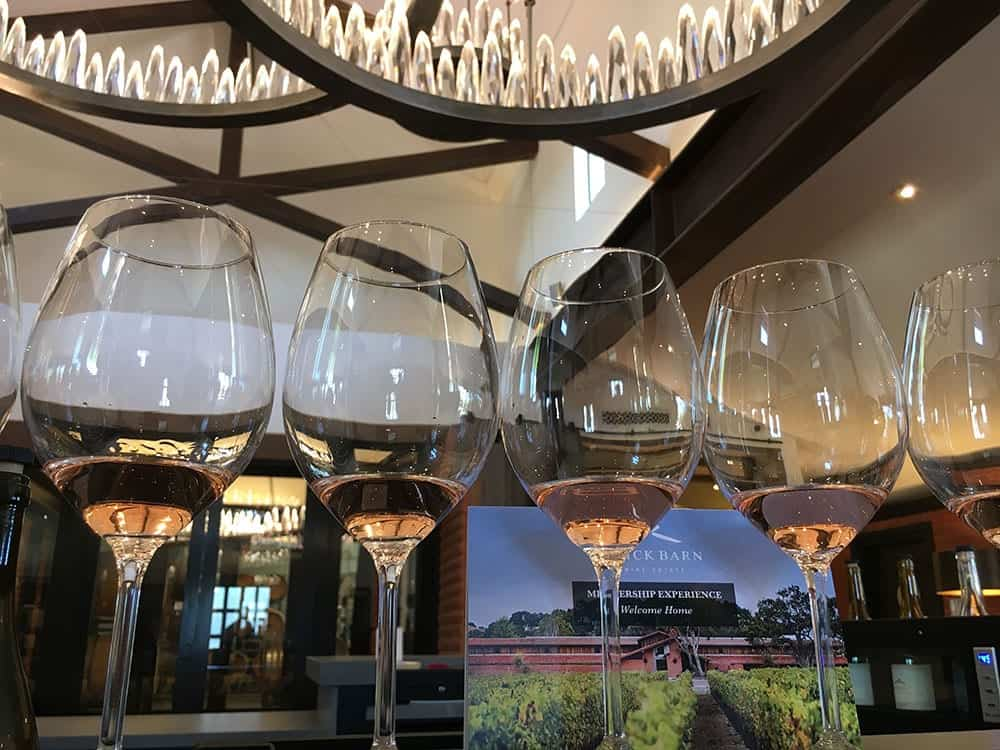 Glasses at Brick Barn Wine Estate Santa Barbara