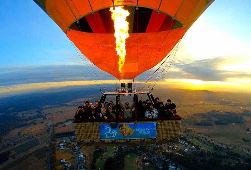 Hot air balloon ride over Hunter Valley