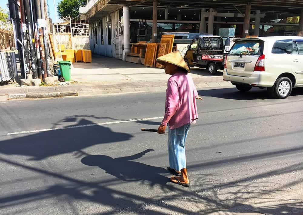 Crossing the road in Bali