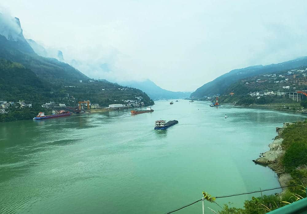 down stream from the three gorges dam