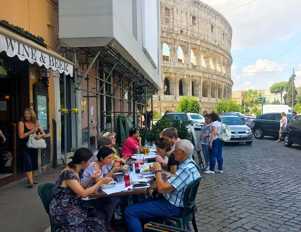 Lunch in front of Colosseum Rome