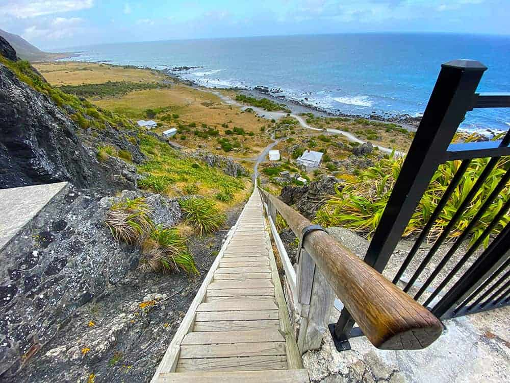 Steps to Cape Palliser lighthouse