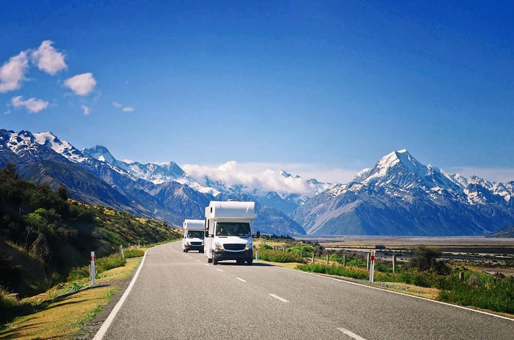 Campervans keeping left on NZ roads
