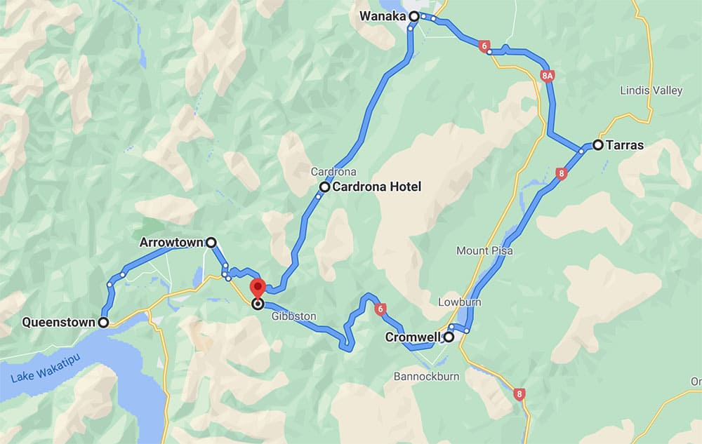 Queenstown to Wanaka to Cromwell map