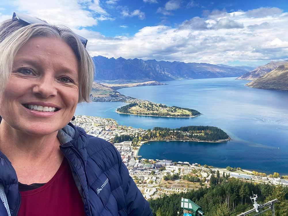 Megan at top of gondola looking over Queenstown