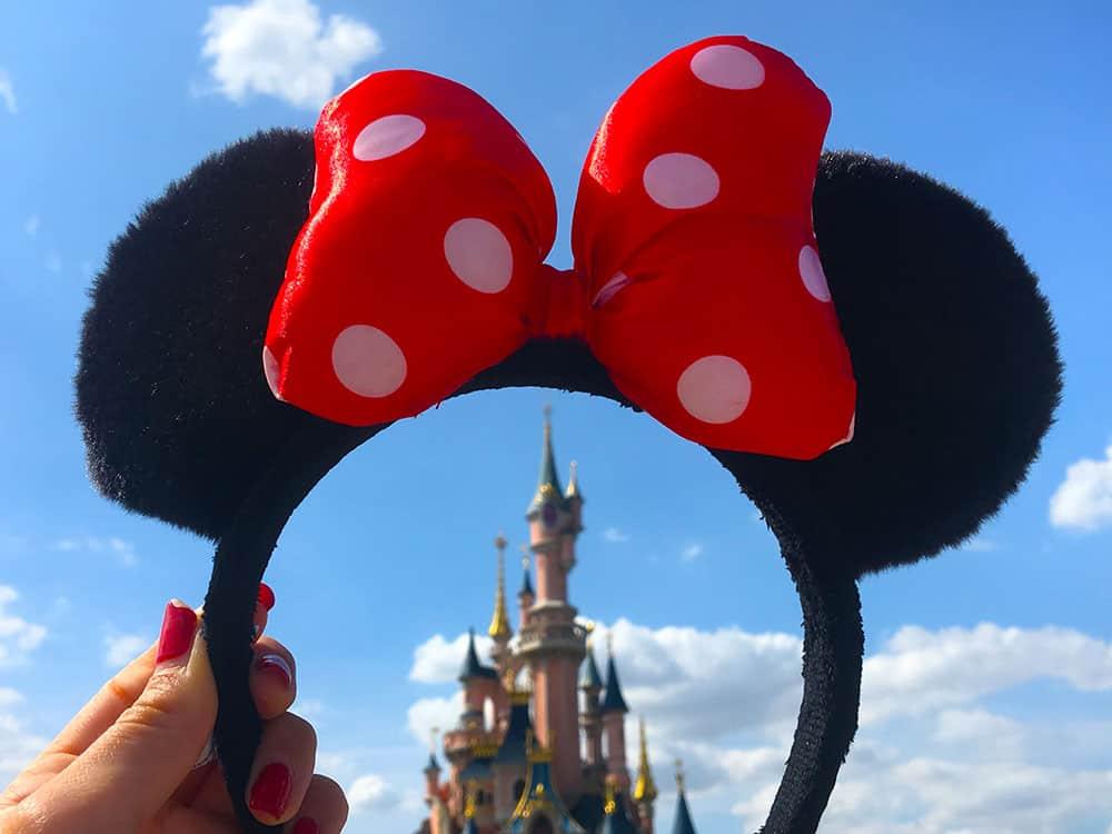 Disney castle through Minnie Mouse ears