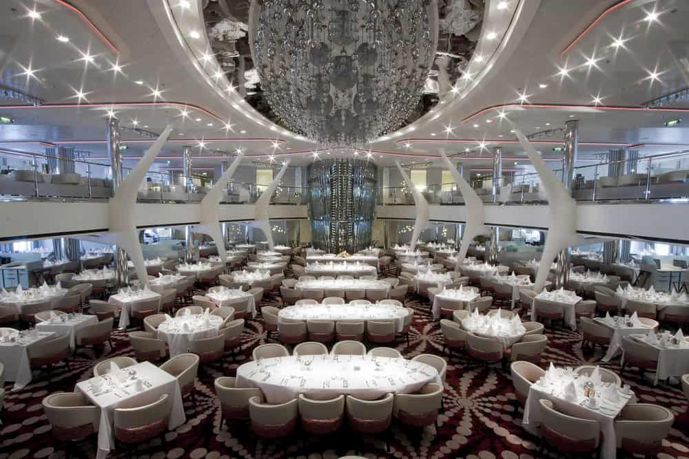Tables of all sizes in the main ship dining room