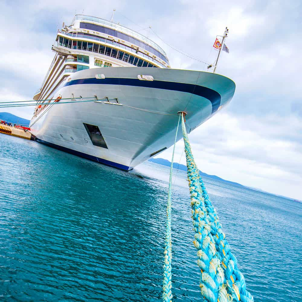 cruise ship tied at port