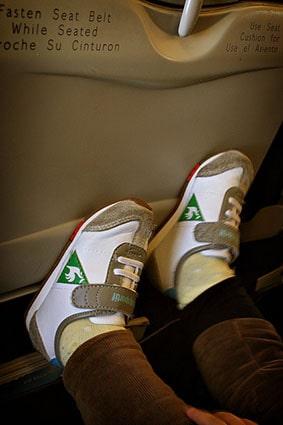 Child kicking plane seat