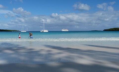 Cruise ship at Kuto Bay Isle of Pines