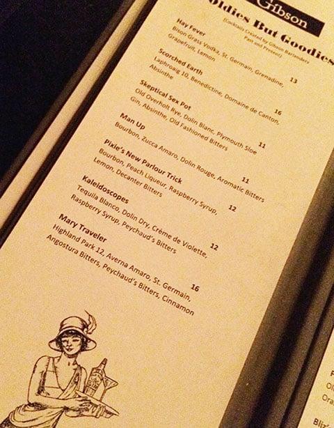 Gibson cocktail list