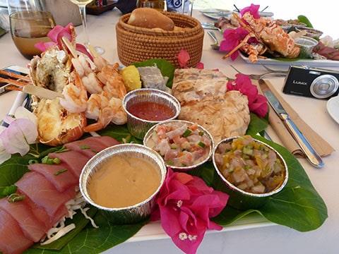 Hilton Bora Bora seafood lunch