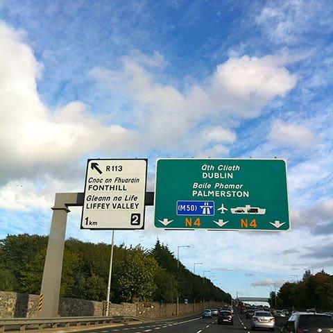 Dublin road sign