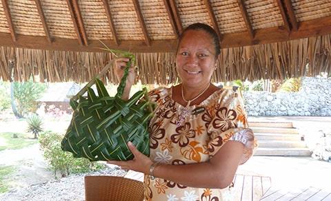 Pearl resort flax basket weaving