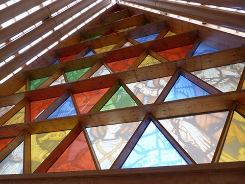 Stained glass windows inside Cardboard Cathedral