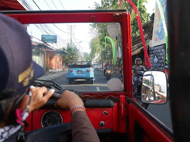VW safari through windsceen bali
