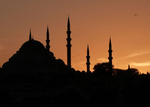 Yeni mosque sunset